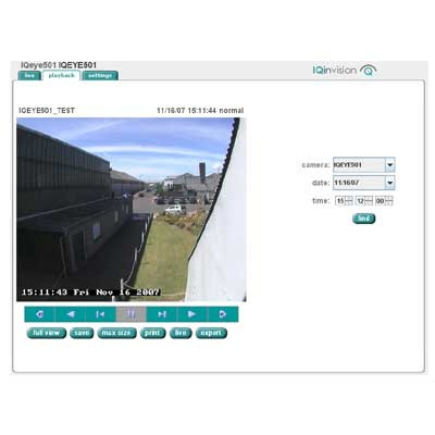 IQeye IQrecorder on-camera recording and playback software