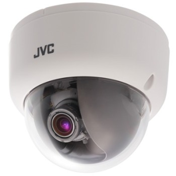 JVC VN-T216U LoLux HD 1080p indoor dome IP camera with Easy day/night, wide dynamic range, 2-way audio and SDHC recording