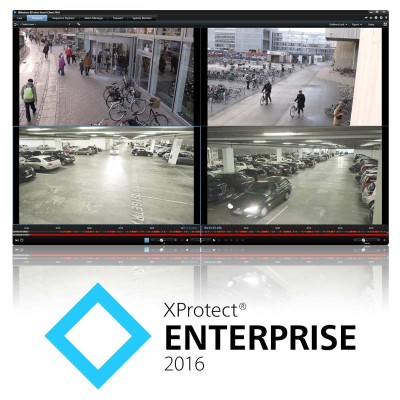 Milestone XProtect Enterprise video management and recording software, base license, add unlimited number of cameras