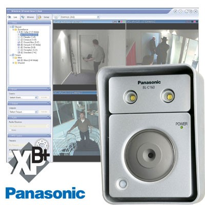 4 x Panasonic BL-C160 Outdoor IP cameras, built-in light + Milestone XProtect Basis+ 4 channel recording software XBP+04