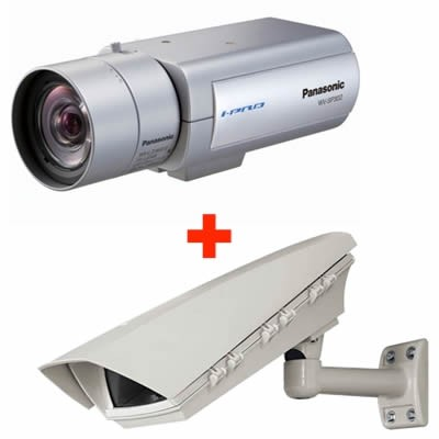 Panasonic i-Pro WV-NP502 outdoor POE bundle, 3 megapixel, fixed IP security camera with two-way audio, day/night function