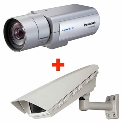 Panasonic i-Pro WV-SP306 outdoor POE bundle, HD 720p, fixed IP camera with day/night function and on-board SD recording
