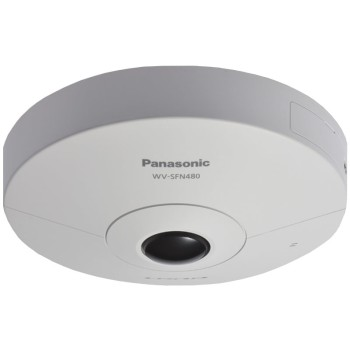 Panasonic WV-SFN480 indoor 9MP vandal-resistant 360° dome IP camera with two-way audio and SD card storage