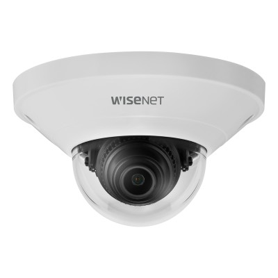 Wisenet QND-6011 indoor vandal-resistant mini-dome IP camera with 2MP resolution, Hallway view, edge storage & PoE