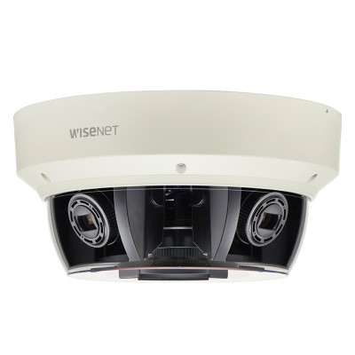 Wisenet PNM-9080VQ outdoor multidirectional IP camera with four HD 1080p sensors, 360° view, edge storage and PoE