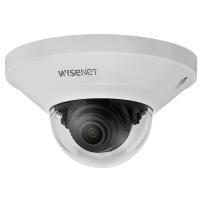 Wisenet QND-8011 indoor mini-dome IP camera with 5MP resolution, Hallway view, HDMI output, edge storage and PoE