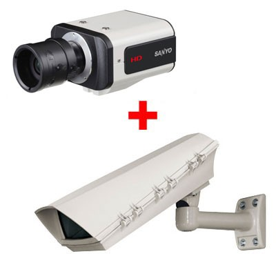 Sanyo VCC-HD2500P Outdoor Bundle with IP66-rated outdoor housing and tough Aluminium wall-mount bracket