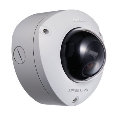 Sony SNC-DF70P outdoor ready mini dome IP camera with day/night switching, two way audio, motion detection and PoE