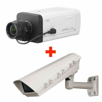 Sony SNC-CH120 outdoor POE bundle HD 720p, fixed IP camera with day/night function, easy focus, H.264