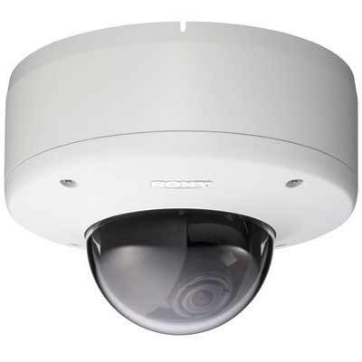 Sony SNC-DM160 1.3 megapixel mini-dome IP camera with 2-way audio, auto day/night switching and vandal resistant casing