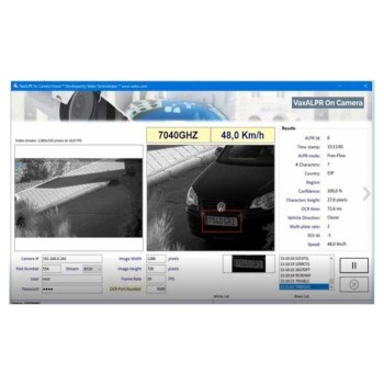 Vaxtor License Plate Recognition application for installation on Axis IP cameras