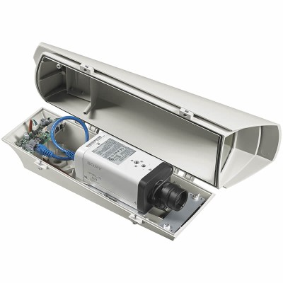 Videotec PUNTO Hi-PoE outdoor housing for PoE-capable IP cameras, IP67-rated with built-in heater, sunshield & PoE+ support