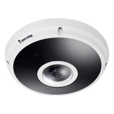 Vivotek FE9382-EHV outdoor vandal-resistant fisheye IP camera with 5MP resolution, 360° view, 20m IR, edge storage & PoE+