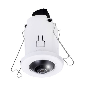 Vivotek FE8182 indoor recessed-mount fisheye IP camera with 5MP resolution, 360° view, built-in microphone and PoE