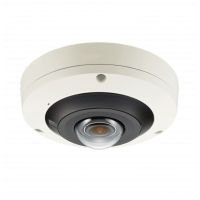 Wisenet PNF-9010RV outdoor vandal-resistant 4K IP camera with 360° view, up to 15m IR, built-in microphone and PoE