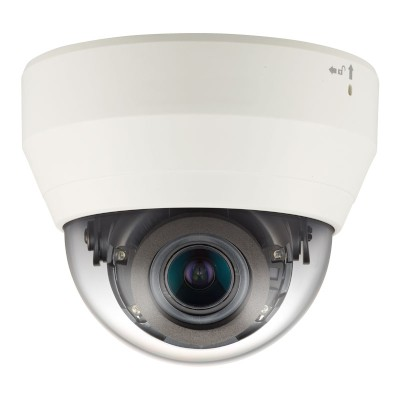 Wisenet QND-6012R indoor dome IP camera with 2MP resolution, up to 20m IR, built-in microphone and PoE