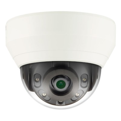 Wisenet QND-7010R indoor dome IP camera with 4MP resolution, 20m IR, one way audio, edge storage and PoE