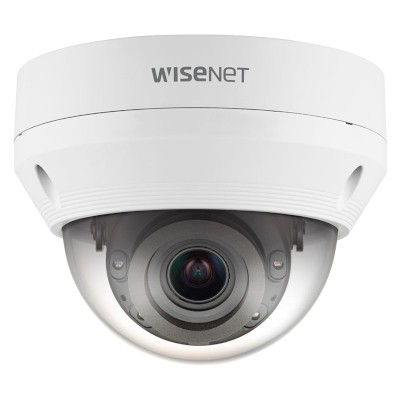 Wisenet QNV-6082R outdoor vandal-resistant dome IP camera with 2MP resolution, varifocal lens, up to 30m IR and PoE