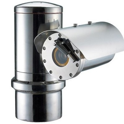 Wisenet TNU-6320E ATEX-Certified stainless steel IP camera with 2MP resolution, intelligent VA & 32x optical zoom