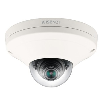 Wisenet XNV-6011 outdoor vandal-resistant mini-dome IP camera with 2MP resolution, hallway view, edge storage & PoE