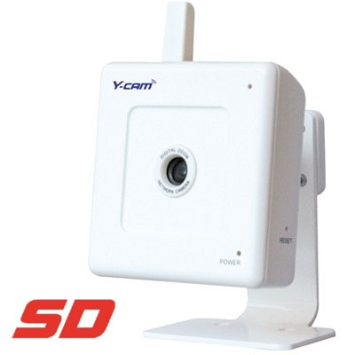 Y-cam White SD wireless IP security camera with MicroSD slot, and one-way audio